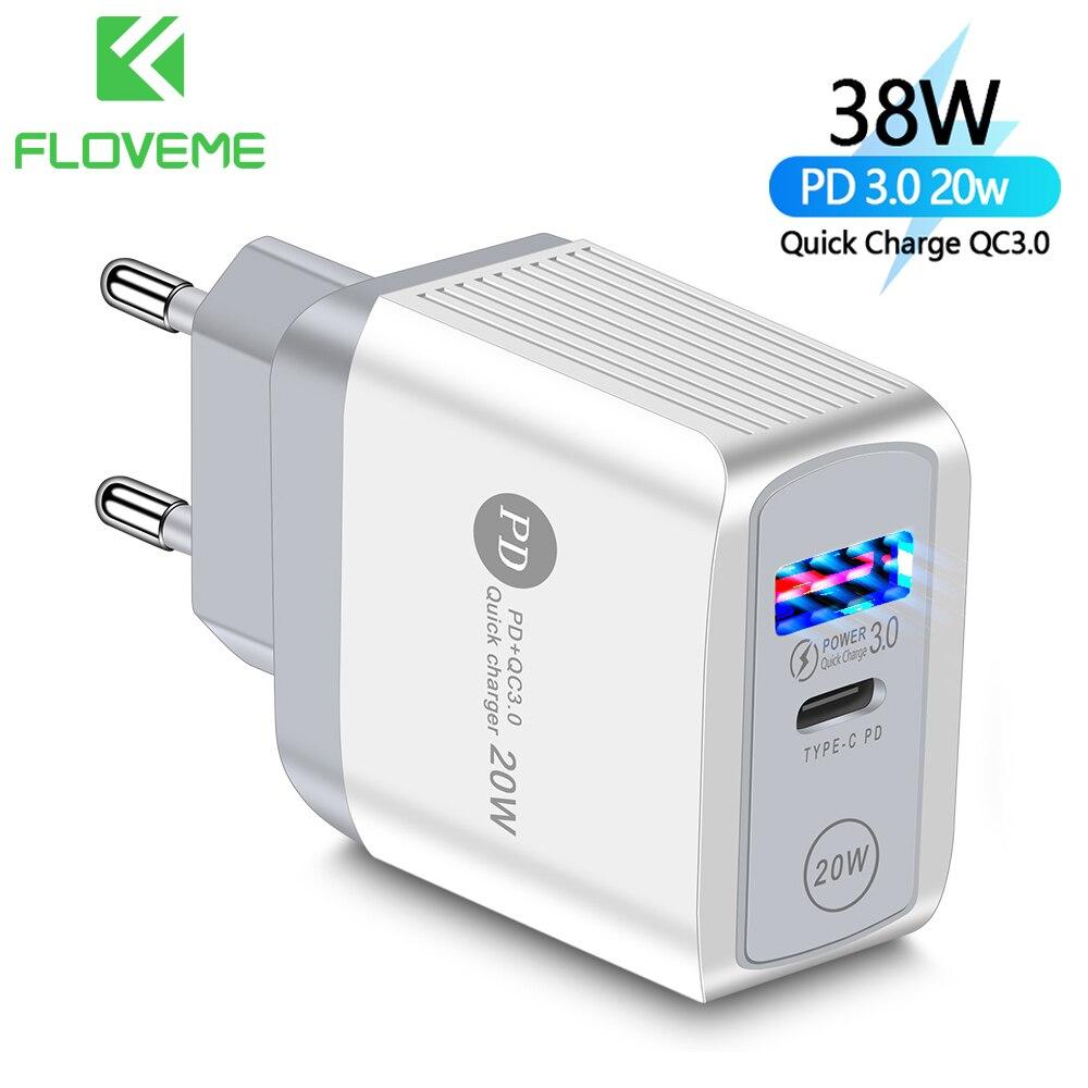 FLOVEME зарядное устройство PD 3,0 Быстрая зарядка 20 Вт iPhone12 Type C Быстрая зарядка 3,0 18 Вт для Xiaomi Samsung USB зарядное устройство мобильный телефон заряд...
