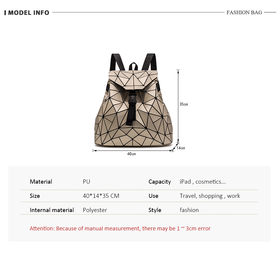 Ha83eb48d9dda4126a04226379898762dE - Women backpack school bag large capacity foldable geometric
