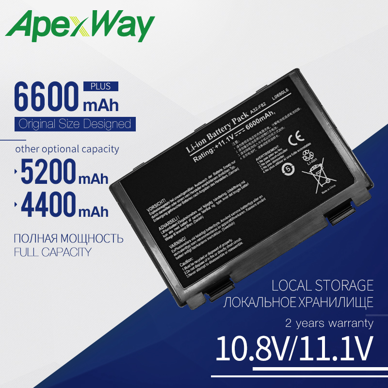 6600 mAh Laptop Battery for Asus 90-NVD1B1000Y A32-F52 A32-F82 A32-K40 L0690L6 L0A2016 F52 F52A F52Q F82 F82Q F83 F83CR F83S