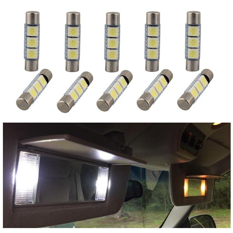 10Pcs White Ice Blue Festoon 29mm LED Interior Bulbs For Car Sun Visor Vanity Mirror Lights Replacement Halogen Bulb 6614 6614F