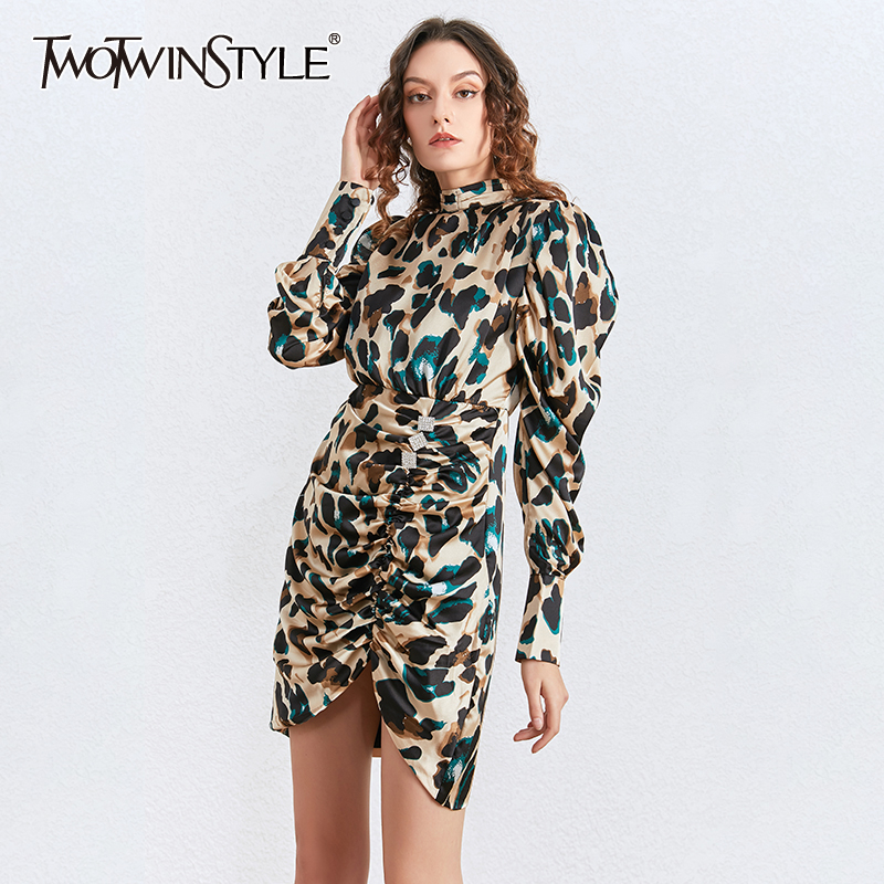 TWOTWINSTYLE Vintage Leopard Mini Dresses Female Turtleneck Puff Long Sleeve High Waist Ruched Asymmetrical Dress Women Clothing