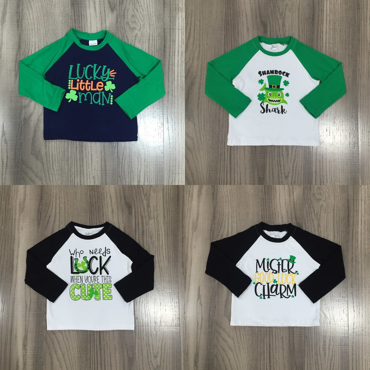 Girlymax Spring St Patrick Baby Boys Long Sleeve Cotton Boutique Top T-shirt Raglans Clothes Lucky Shark Shamrocks Clover 1