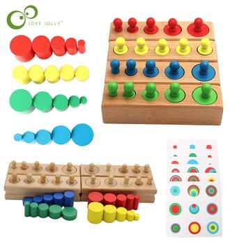 Montessori Cylinder Socket puzzle zabawki rozwój dziecka praktyka i zmysły przedszkole drewniane zabawki edukacyjne dla dzieci ZXH