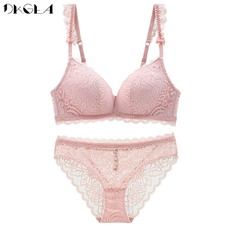 Pink Embroidery Lingerie Set Women Bras Wire Free Brassiere Cotton Thin Bra Panties Sets Lace Seamless Sexy Underwear Set White