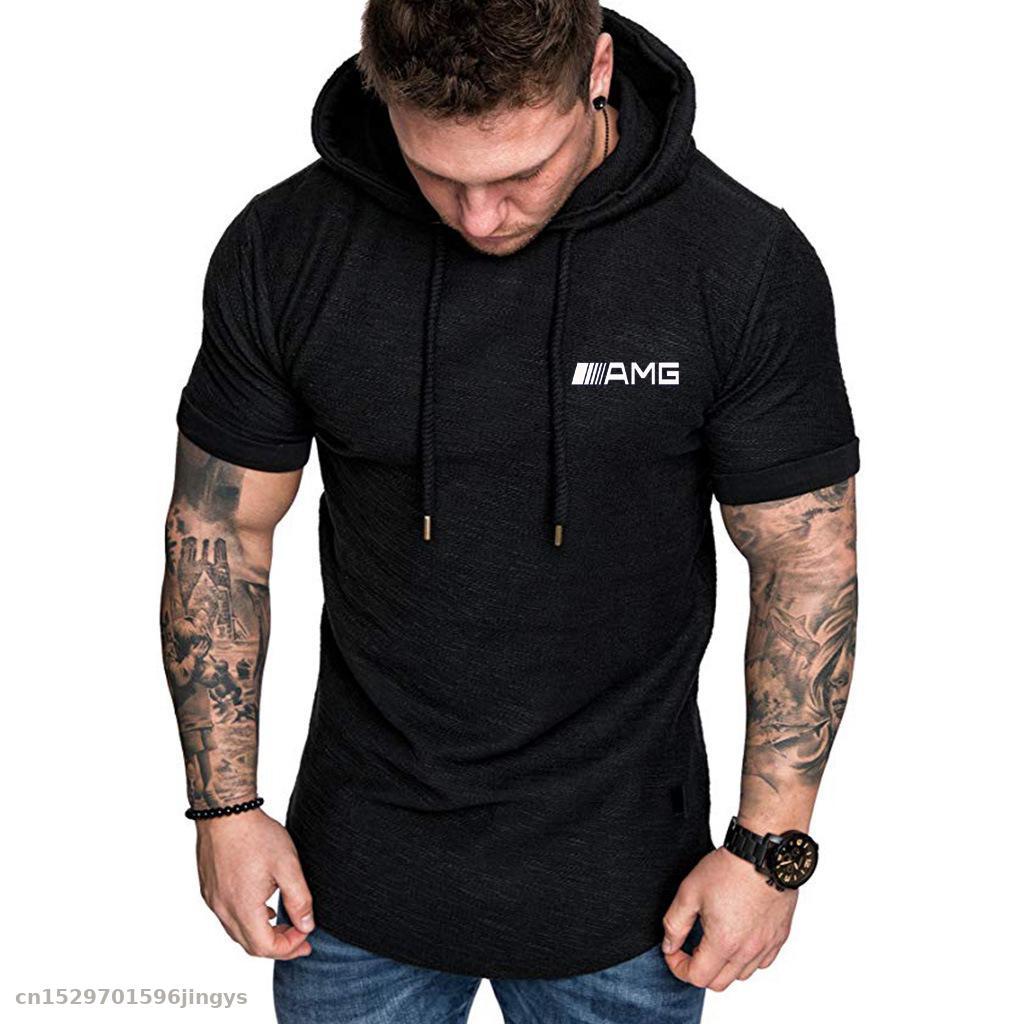 Hot Fashion Mens Hoodies Solid Color Slim For Amg Logo Short Sleeve Sweatshirt  Hip Hop Hoodies T Shirt Sportswear
