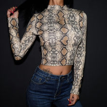 2020 NEW High Neck Sexy Women Bodysuit Snake Print Long Sleeve Women Fashion Cotton Sexy nightclub Body Bodycon Bodysuit(China)