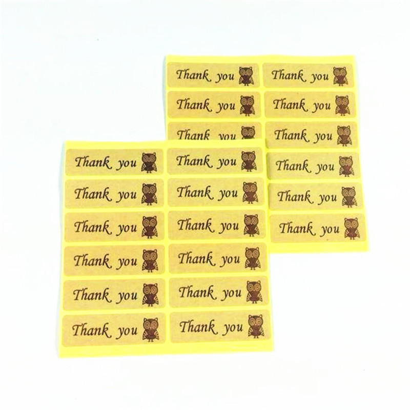 120pcs/pack Owl Thank You Leather Color Seal Sticker DIY  Gift Cake Baking Stickers