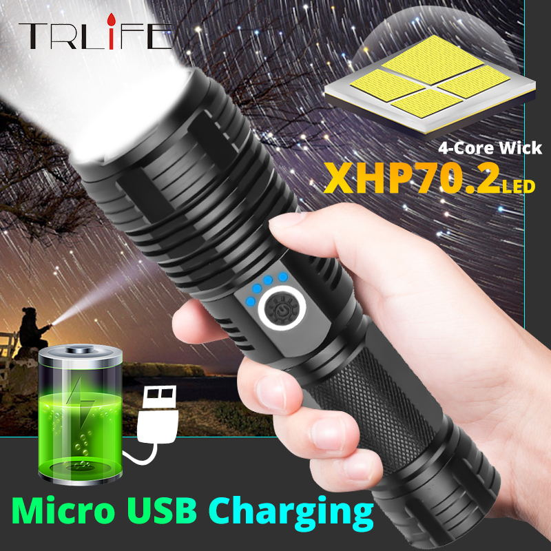 Drop Shipping XHP50 Upgrade Most Powerful XHP70.2 LED Flashlight USB Rechargeable 26650 Waterproof Tactical Torch Zoomable Light
