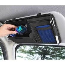 Car Sun Visor Storage Bag Auto Accessories Pocket Organizer Truck Storage Interior Luxury Ornament Car Goods for Pen Sunglass