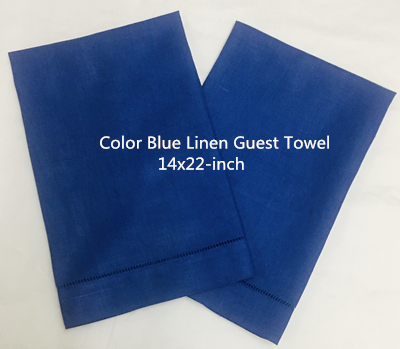 Set Of 12 Fashion Handkerchiefs Towel With Hemstitch Border Blue Linen Guest/Hand Towel Makes Any Guest Feel Welcome 14x22-inch