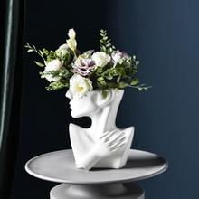 Flower-Pot Portrait-Ornaments Ceramic Face Half-Length Desktop-Vase Home-Decor Creative