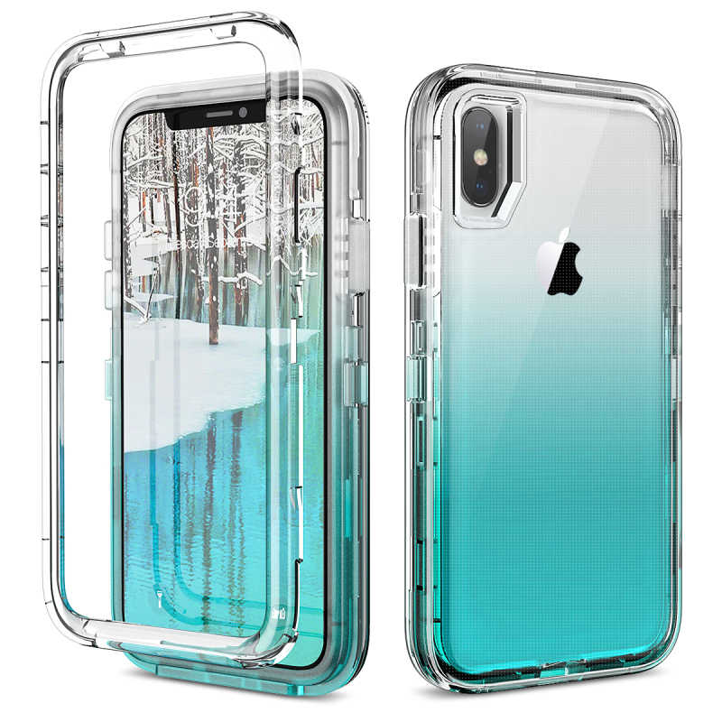 Mewah Gradient Case untuk iPhone 7 8 6 6 S Plus XR X XS Case Bening Hard Pc Bumper Case 3 In 1 Silikon Transparan Cover Coque
