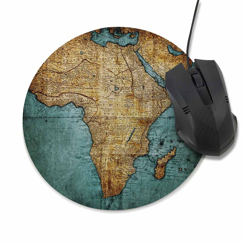 Mouse Pad Vintage World Map Print Mousepad Antique Decorate Pads 20CM Round Gaming For Office and Home Computer