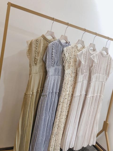 Kuzuwata Elegant Fresh High Waist Women Dress 2021 Spring New Pleated Drawstring Slim Waist Dresses Sexy Hollow Out Vestidos 6
