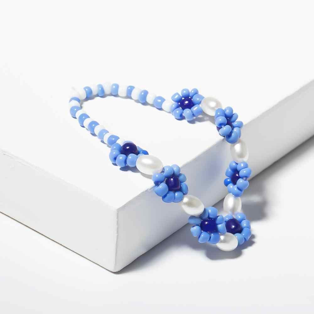 SHIXIN Simple perles fleur collier ras du cou mode coréenne perles collier de perles pour femmes/filles Boho collier court femme damier