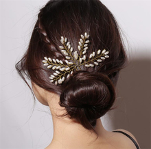 Handmade Foliage Pearl Hairpin Fashion Bride Hair Accessories Leaf Bun Elegant Sticks