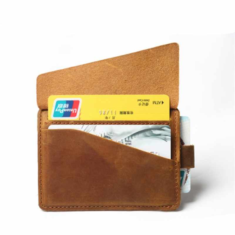Couro genuíno Coin Purse For Men Masculino Curto Do Vintage Pequeno Mini Carteira Zíper Chave Saco Titular do Cartão de Crédito Dinheiro Titular bolso