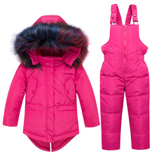 цена на Baby Winter Clothes Set Warm Big Fur Collar Down Jacket For Girls Overalls For Children Winter Snowuits 1-5 Years Kids Boys Snow