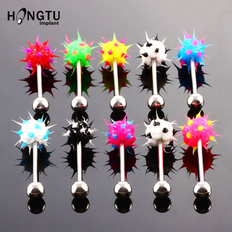 Fashion Women Men Body Piercing Jewelry Colorful Rock Personality Rubber Stainless Barbell Tongue Ring