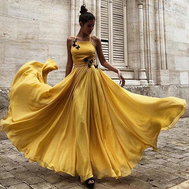 A-Line Backless Prom Dresses 2020 Yellow Satin Formal Party Dress For Sweet 16 Girls Gowns Elegant Vestido De Graduacion