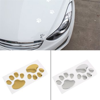 new3D Cute Casement Silver/Gold Bumper Body Decal Sticker Bear Dog Animal Paw Foot Prints Pattern For Car Wall image