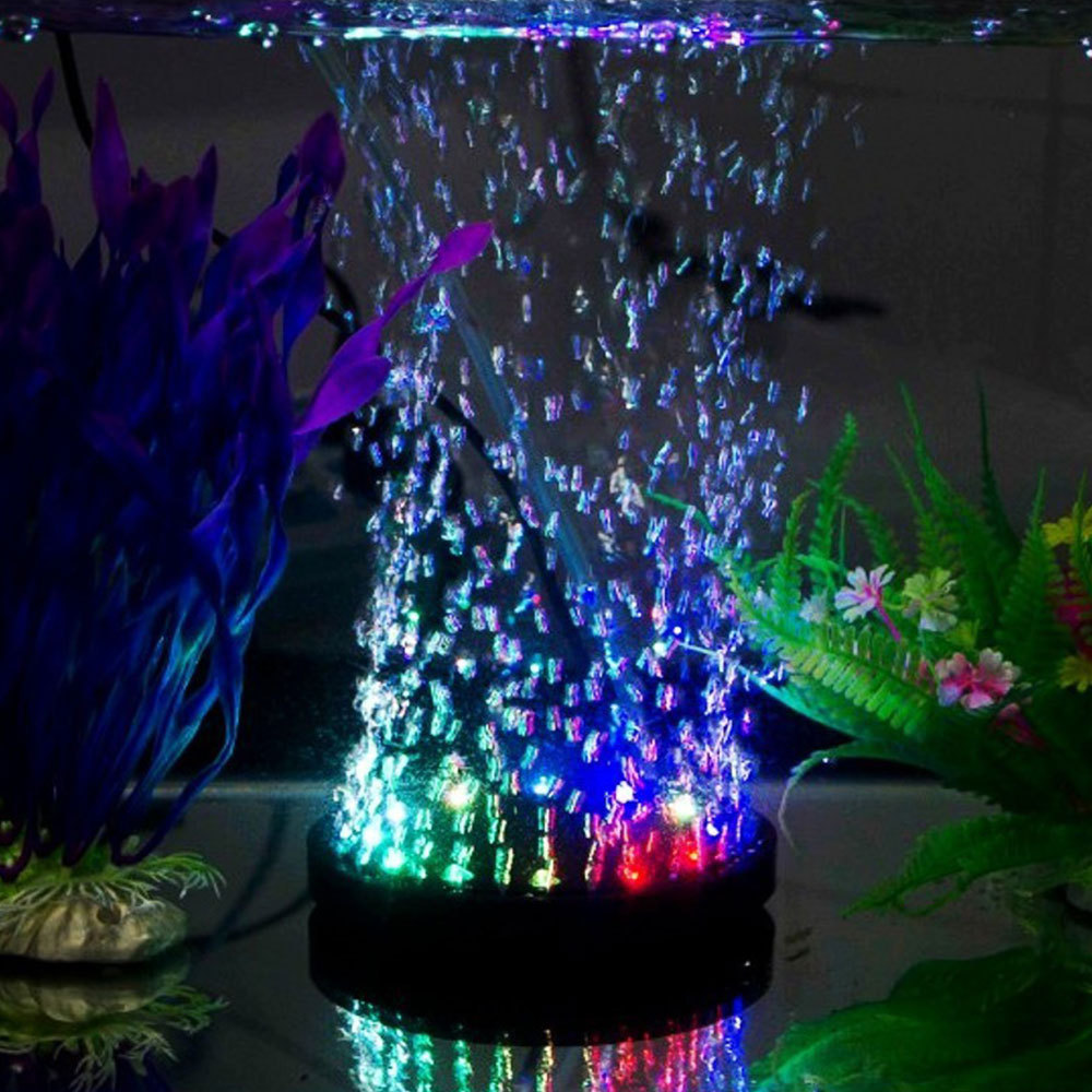 Aquarium Colorful Slow Flashing Submarine LED Lamp Gas Tray Fish Tank Oxygen Plate LED Bubble Light Waterproof Candle Lights