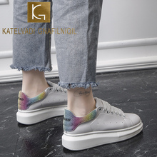 KATELVADI White Sneakers Woman Lace Up Casual Shoes PU Leather Sneakers for Women Platform Pumps CH009 pu patchwork lace up sneakers