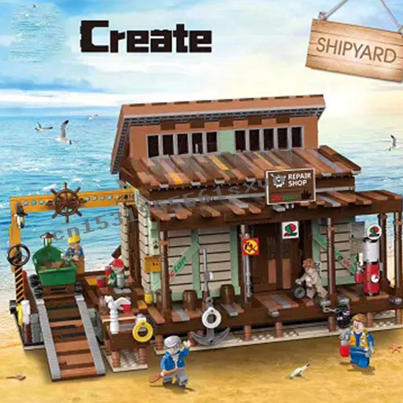 Pre-sale New The Old Fishing Store Shipyard City Creator Street View MOC Model Building Blocks Lepinblocks Bricks Kits Toy Gift