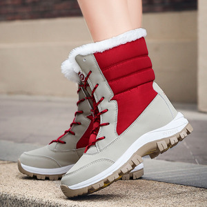 Image 5 - WDZKN 2019 Winter Warm Shoes Women Snow Boots Thick Plush Mid Calf Flat Boots Female Botas Mujer Waterproof Winter Women Boots