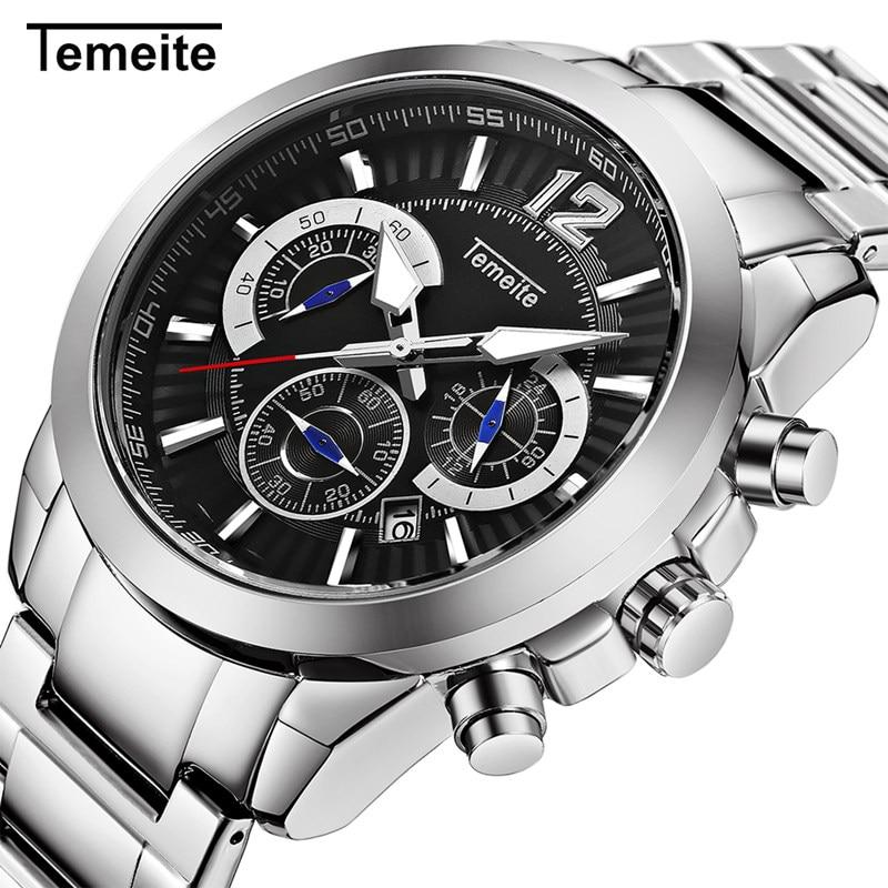 New Gold Mens Watches Temeite Brand Sport Quartz Watch Men 6 Pointers Stainless Steel Wristwatch Chronograph Relogio Masculino