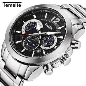 Nowe złote męskie zegarki Temeite marka Sport zegarek kwarcowy mężczyźni 6 wskaźniki zegarek ze stali nierdzewnej Chronograph Relogio Masculino