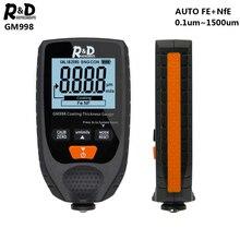 R& D GM998 толщиномер покрытия автомобиля краски из металла с гальваническим покрытием толщиномер тестер метр 0-1500um Fe& NFe зонд