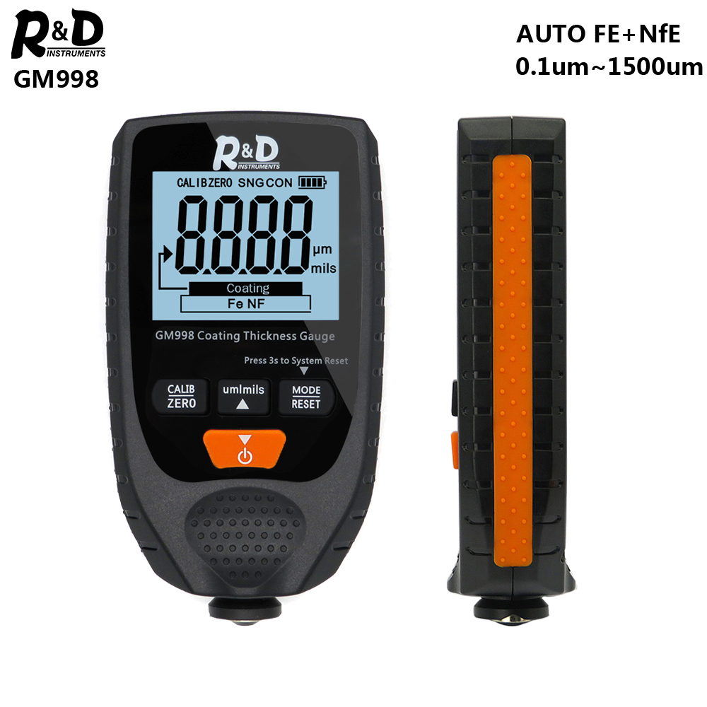 R&D GM998 Car Paint Coating Thickness Gauge Car Paint Electroplate Metal Coating Thickness Tester Meter 0-1500um Fe & NFe Probe