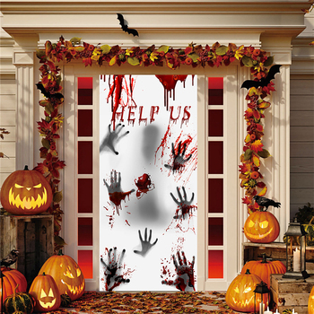 New House Bloody Eerie Wall Door Window Sticker Halloween Party Ghost Glass Sticker For Home image
