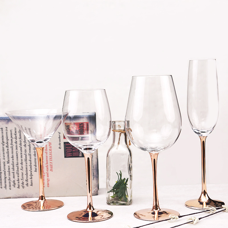 Modern Crystal Wine Glass Plated Rose Gold Goblet Wedding