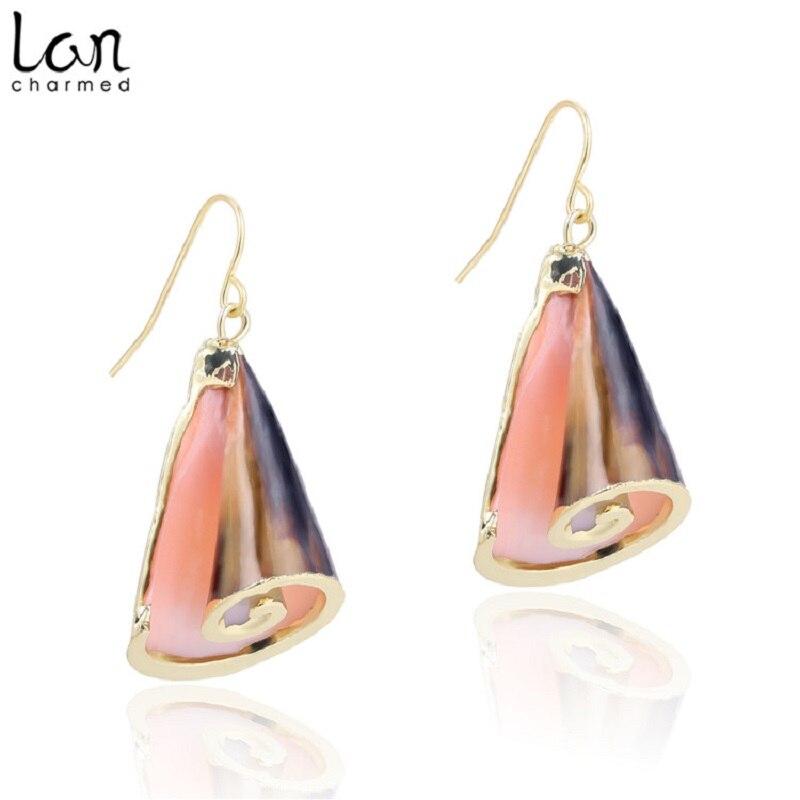Lancharmed 2019 Simple Conch Drop Earrings for Women Trendy Sea Shell Earrings Top Fashion Ladies Shell Earrings