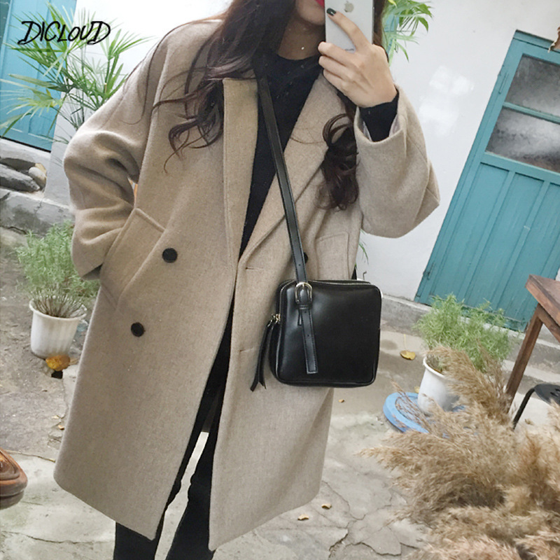 2019 Thin Wool Blend Coat Women Fashion Long Sleeve Turn-down Collar Outwear Jacket Casual Autumn Winter Elegant Overcoat Black