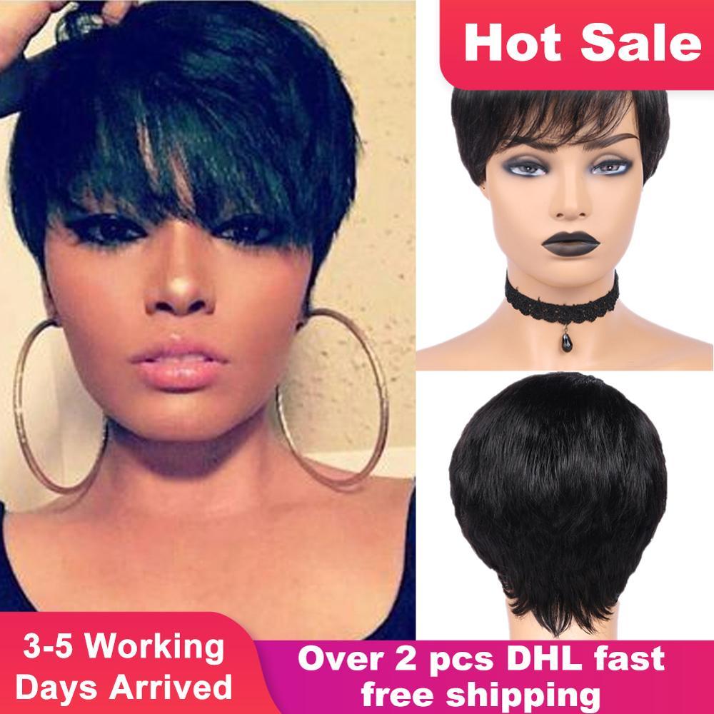 HANNE Hair Pixie Cut Wigs Short Human Hair Wigs Wavy Wig Brazilian Remy Hair Free Part Wig For Black/White Women