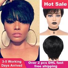 Парики HANNE Pixie Cut, короткие парики из человеческих волос, волнистый парик, бразильские волосы Remy, свободная часть, парик для черно белых женщин