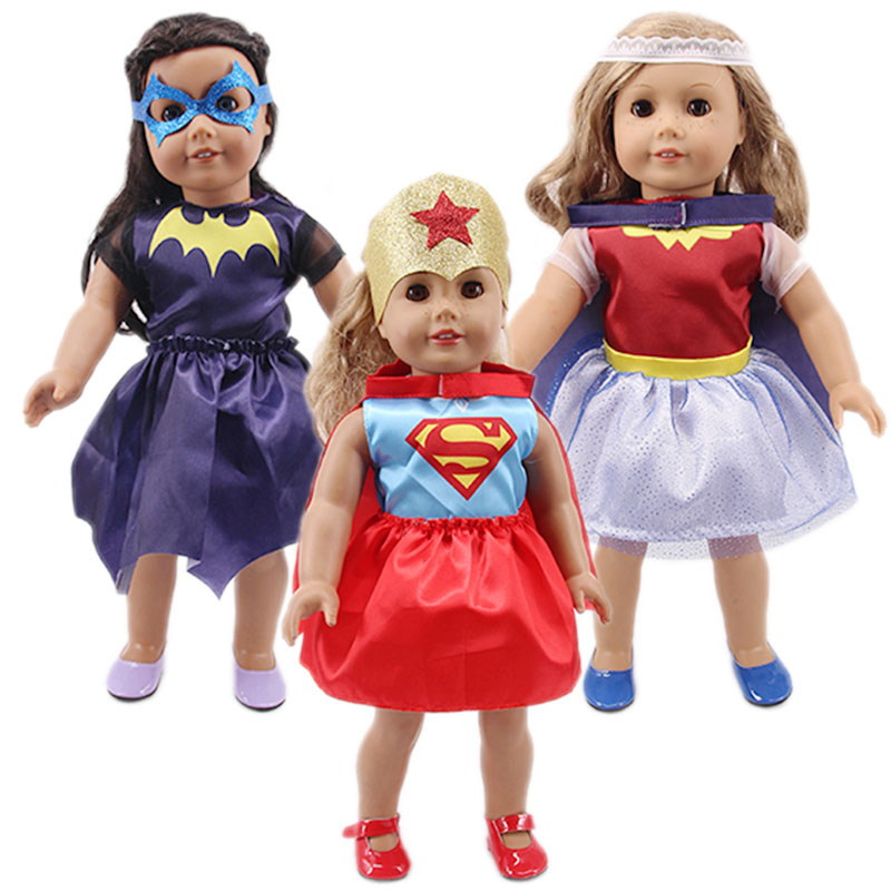 Superhero Cloak Set&Spiderman Pajamas Doll Clothes Accessories  For 18 Inch American&43Cm Born Baby Generation Girl's Toy  Gift
