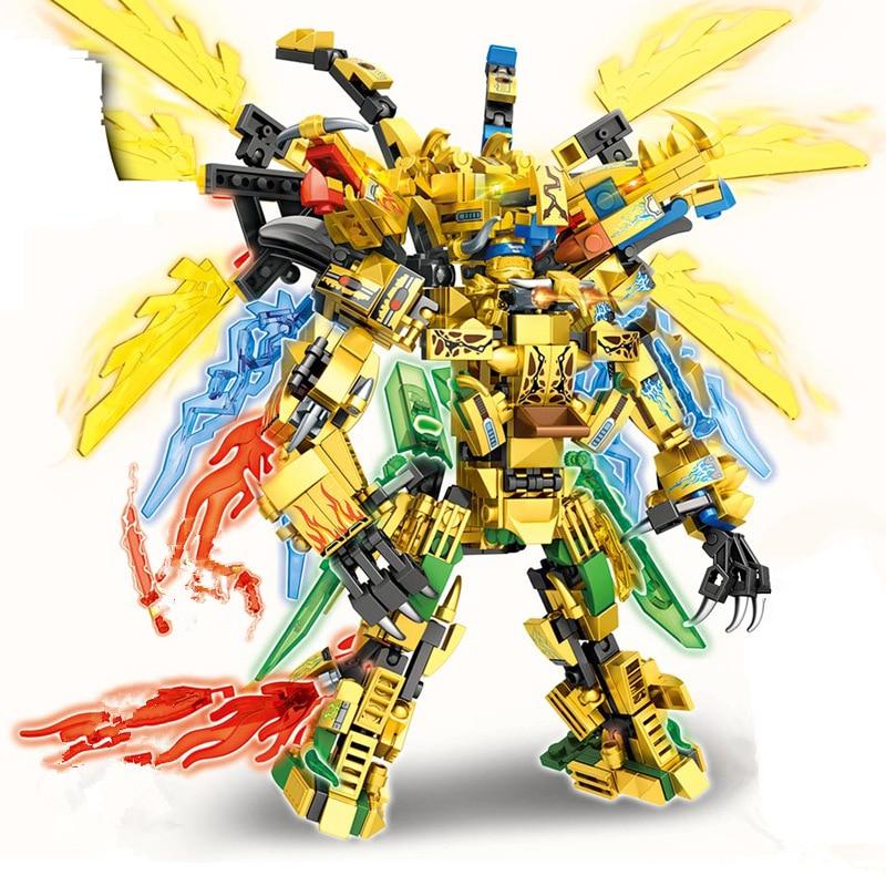 4IN1 New Ninja Golden Dragon Building Block Mech Robot Action Figures Model Sets Bricks Toys for Children Gifts