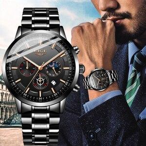 Image 2 - Mode hommes montres LIGE Top marque étanche Sport montre chronographe hommes décontracté en acier inoxydable Quartz horloge Relogio Masculino