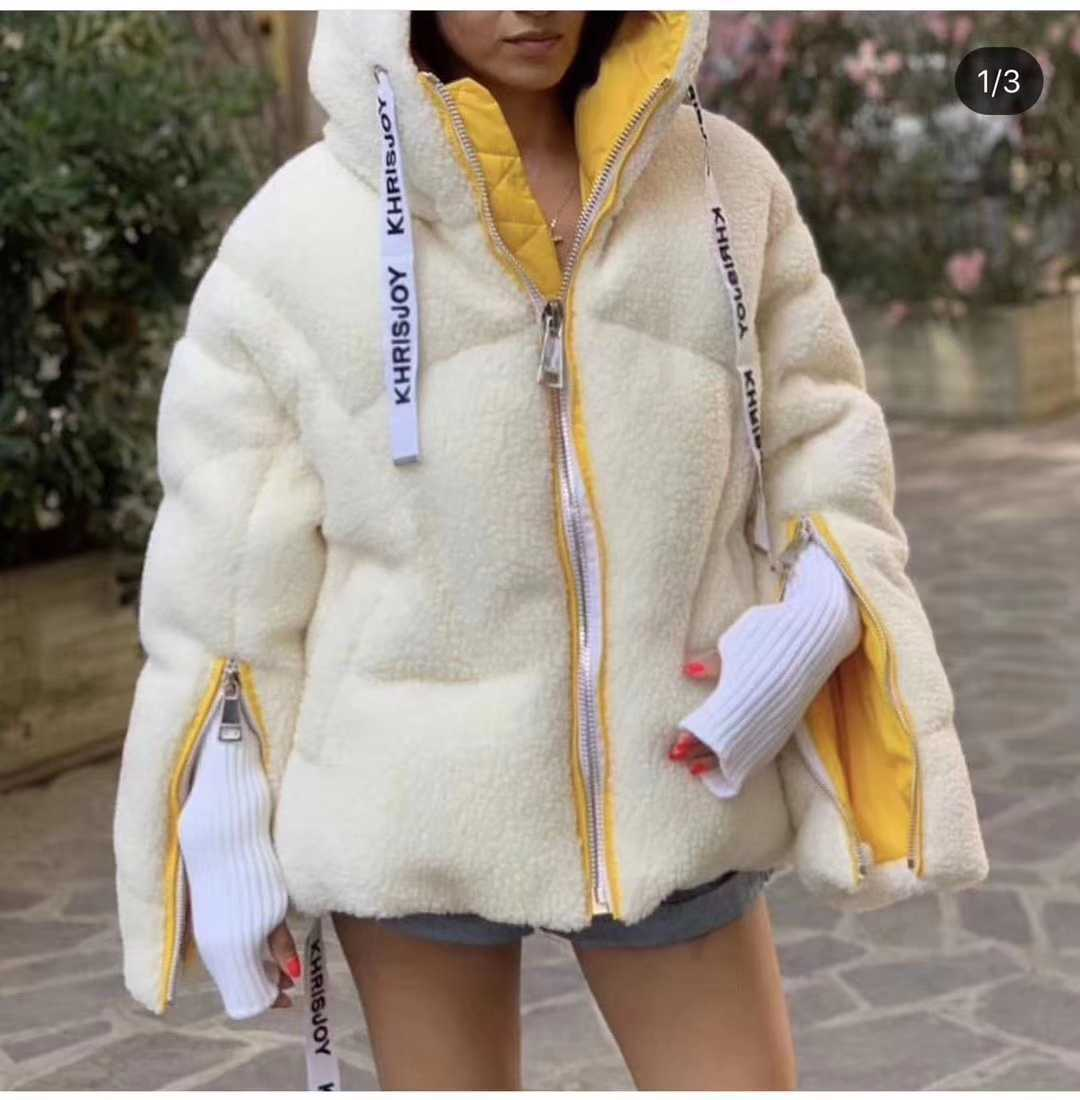 Korean-style Joint Thick Lamb's Wool Casual Coat Winter New Products Long-sleeve Zipper Hooded Mixed Colors Tops 2019