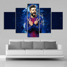 цены 5 Pieces Gerard Pique Posters Barcelona Football Canvas Paintings Wall Art Prints Pictures Boys Sports Room Decoration Frame