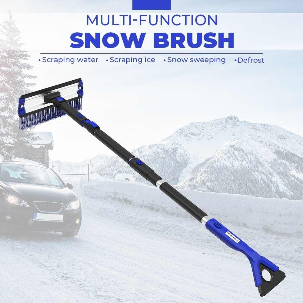 4-In-1 Uitschuifbare Sneeuwschuiver Ijskrabber Sneeuw Borstel Water Remover Voor Auto Auto Suv Vorst Voorruit cleaner Winter Tool
