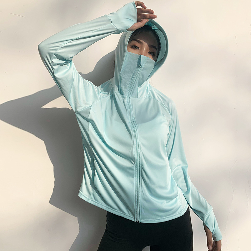 Anti-UV Clothes Running Shirt Jacket Ice Silk Quick Dry Sports Clothing Sun Protection Face Neck Breathable Outdoor Sportswear