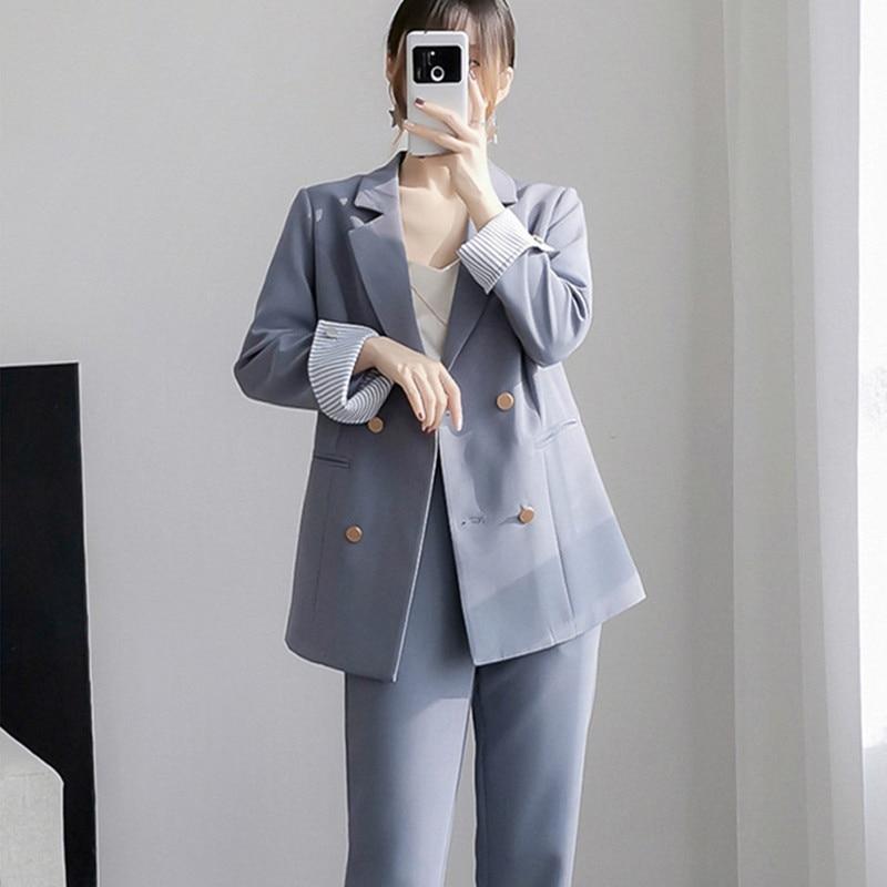 BGTEEVER Office Ladies Blazer Suit Double Breasted Pockets Female Blazer Pants Set Streetwear Elegant Women Pant Suit 2020