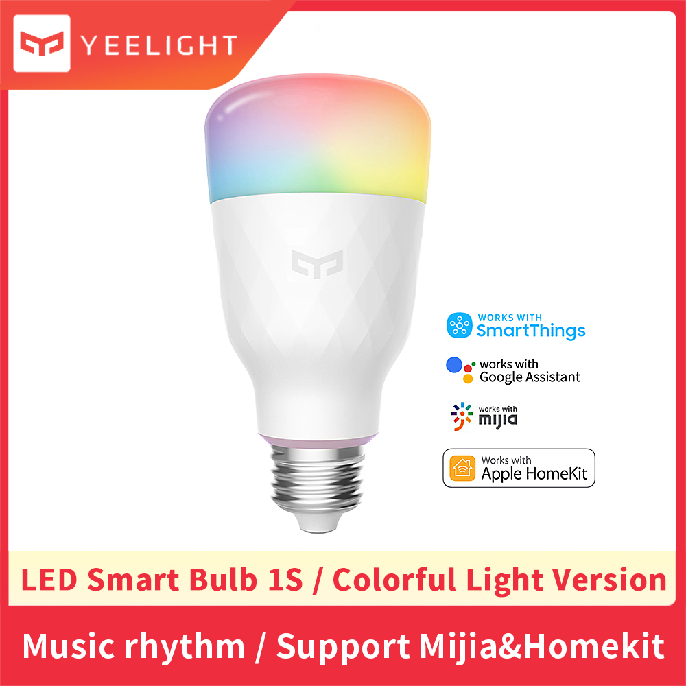 Yeelight 1S YLDP1SYL Smart WiFi Dimmable Colorful Light Bulb Compatible with Alexa amp Apple Homekit and Google Home No Hub Required
