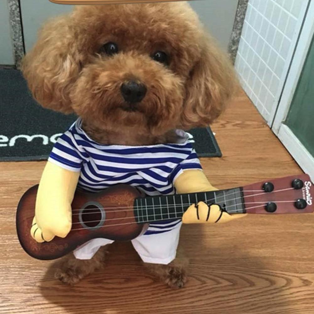 Engraçado guitarra cão de estimação roupas vestir-se festa gato cão casaco guitarrista vestir traje pet coat cosplay realizar roupas para animais de estimação produto