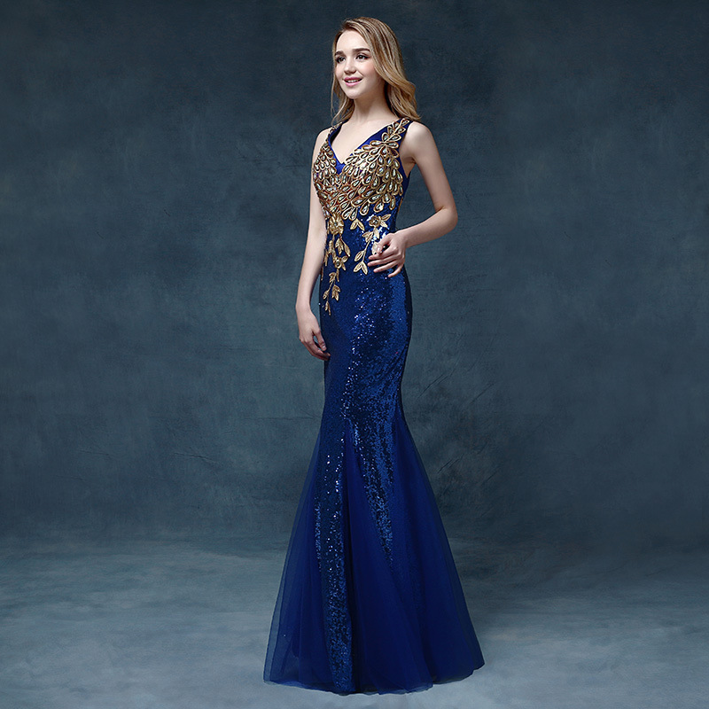 New Deep V-neck Mermaid Long Sequin Evening Dress Female 2019 Company Annual Meeting Banquet Host Dress Vestido De Festa Longo